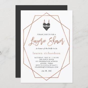 faux rose gold geometric | lingerie shower invitation