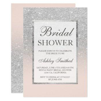 faux silver glitter blush elegant bridal shower invitation