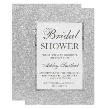 faux silver glitter modern elegant bridal shower invitation