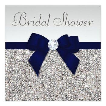 faux silver sequins navy blue bow bridal shower invitation