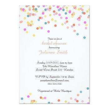 festive colorful confetti bridal shower invitation