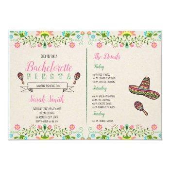 fiesta bachelorette with itinerary invitation