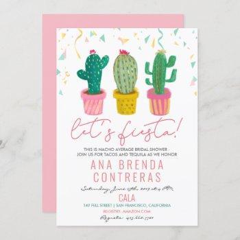 fiesta cactus bridal shower invitation