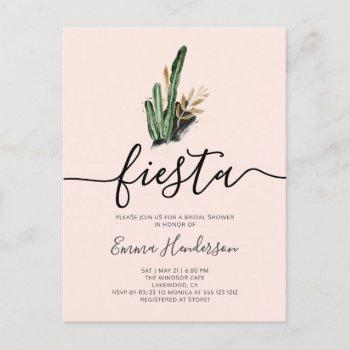 fiesta cactus bridal shower invitation postcard