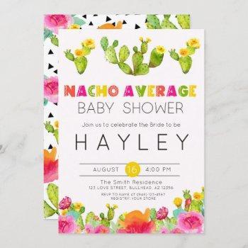 fiesta cactus nacho average baby shower invitation