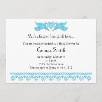 fiesta de bebe blue love birds baby shower invitation