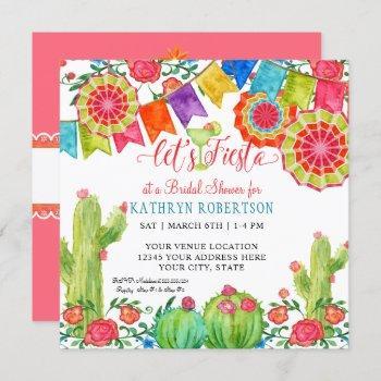 fiesta margarita cactus bridal shower girl pennant invitation