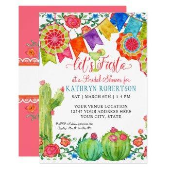 fiesta margarita floral cactus art bridal shower invitation