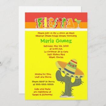 fiesta mexican theme 5x7 bridal shower invite