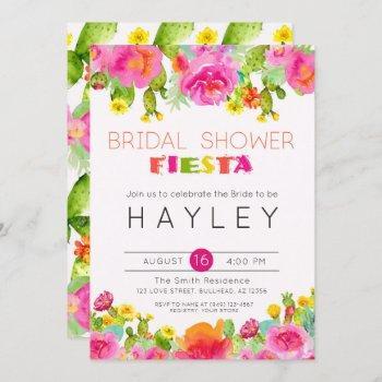 fiesta succulent floral watercolor bridal shower invitation