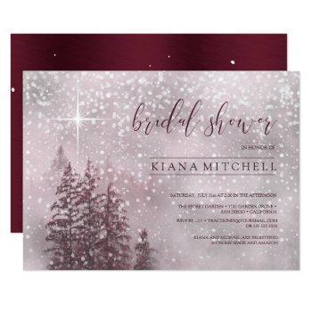 fir trees winter bridal shower burgundy id543 invitation