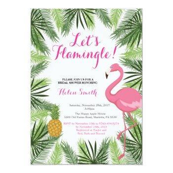 flamingo bridal shower invitation let's flamingle