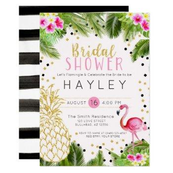 flamingo tropical pineapple bridal shower invite