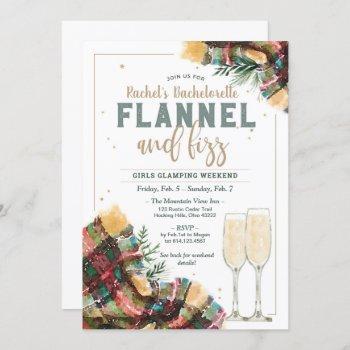 flannel and fizz bachelorette glamping invitation