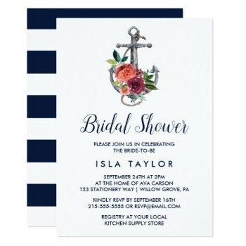 floral anchor   autumn bridal shower invitation