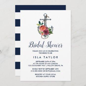 floral anchor | autumn bridal shower invitation