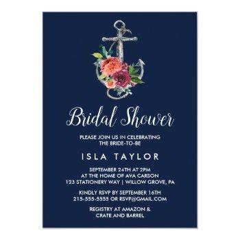 floral anchor | navy autumn bridal shower invitation