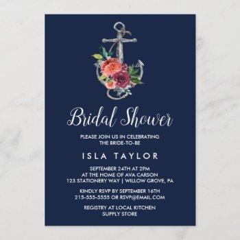 floral anchor | navy autumn bridal shower invitation