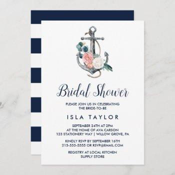 floral anchor | summer bridal shower invitation