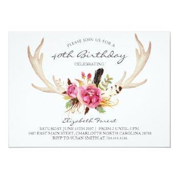 floral antler boho birthday party invitation