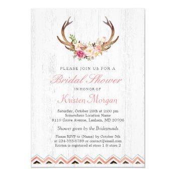floral antler boho rustic white wood bridal shower invitation