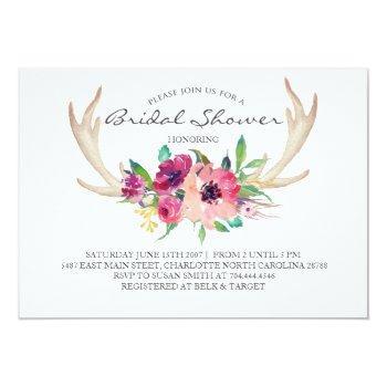 floral antler boho shower invitation
