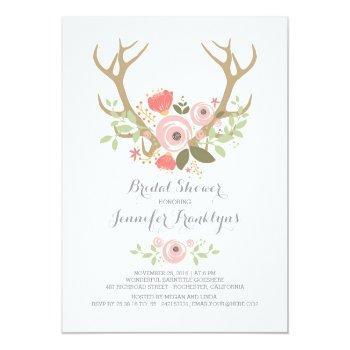 floral antlers boho bridal shower invitation