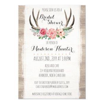 floral antlers rustic wedding bridal shower custom invitation