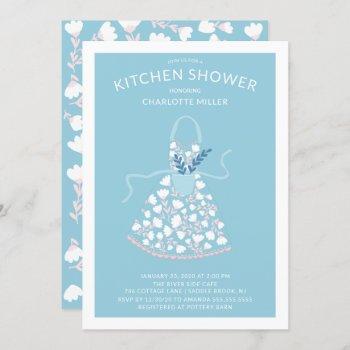 floral apron bridal kitchen shower invitation