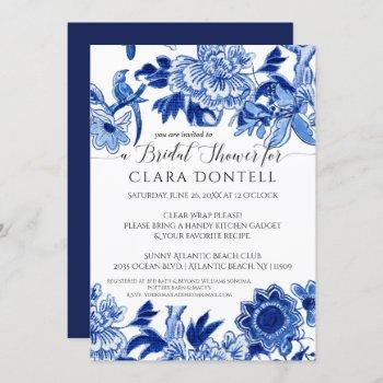 floral asian influence blue white bridal shower invitation