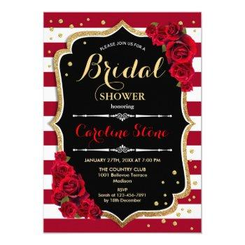 floral black gold red stripes bridal shower invitation