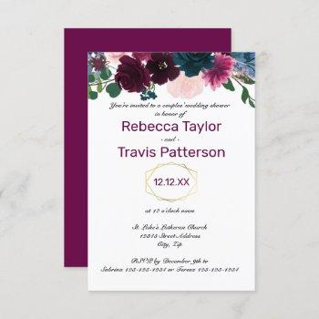 floral blooms plum - 3x5 couples' wedding shower invitation