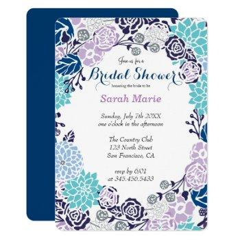 floral blue flower wreath party invitation