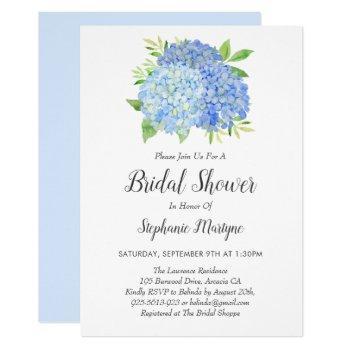 floral blue hydrangea bouquet bridal shower invitation