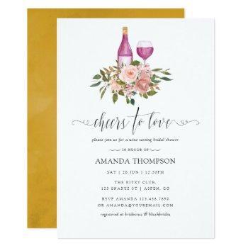 floral blush and gold bridal shower wine tasting invitation