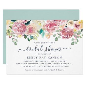 floral blush greenery eucalyptus bridal shower invitation