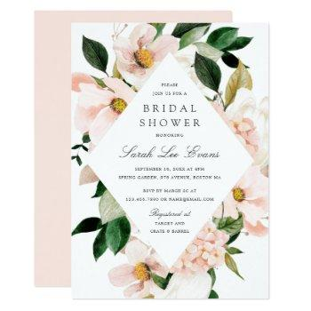 floral blush hydrangea elegant bridal shower invitation