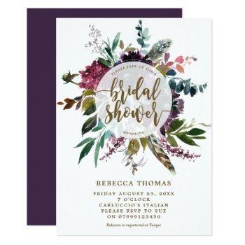 floral boho feathers bridal shower invitation
