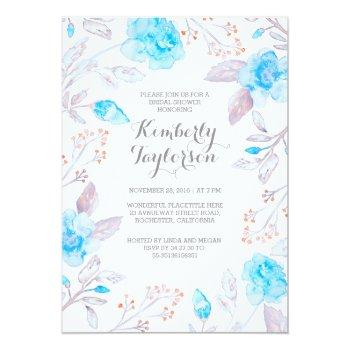 floral bouquet tiffany blue bridal shower invitation