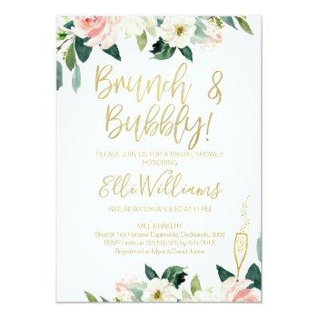 Floral Bridal & Bubbly Bridal Shower Invitation Front View