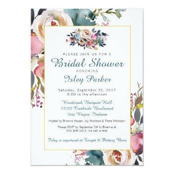 floral bridal shower invitation summer fall roses