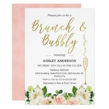 floral brunch bubbly bridal shower invitation