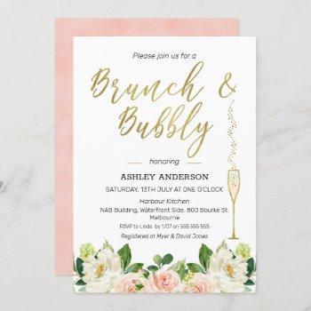 floral brunch bubbly bridal shower invitation