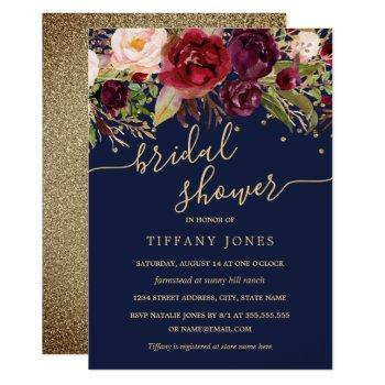 floral burgundy navy gold confetti bridal shower invitation