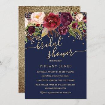 floral burgundy navy gold confetti bridal shower invitation