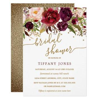 floral burgundy red gold confetti bridal shower invitation