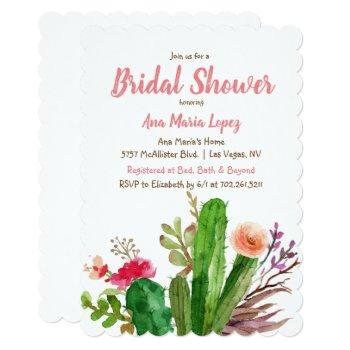 floral cactus bridal shower invitation