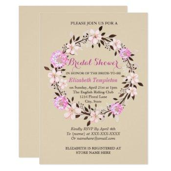 floral cherry blossom and clover bridal shower invitation