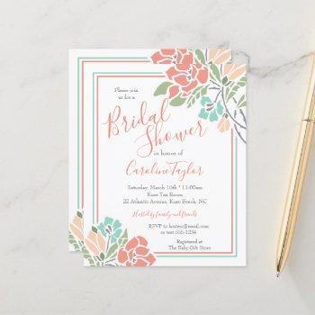 floral coral teal bridal shower invitation