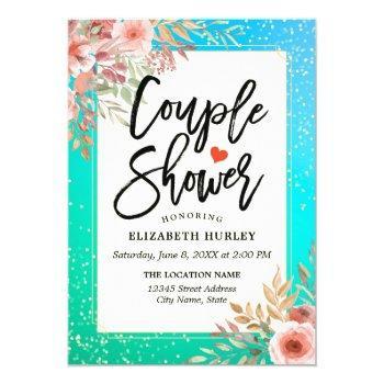 floral couple shower / bridal shower teal gold dot invitation